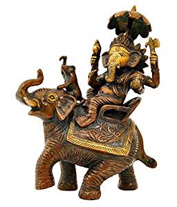Aesthetic Decors Ganesh Sitting on Elephant Showpiece - 24 cm (Brass, Multicolor)