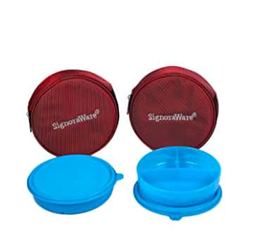 Signoraware Mini Meal Lunch Box with Bag Set, 550ml, Set of 2