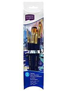 DERWENT Academy Taklon Small Brush Set Acetate (Pack of 6)