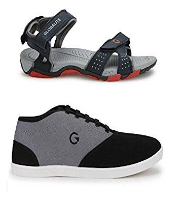 Globalite Men`s Casual Sandal & Shoe Combo (Albert-Navy Red+ Crux-Black grey) GSC0461_130