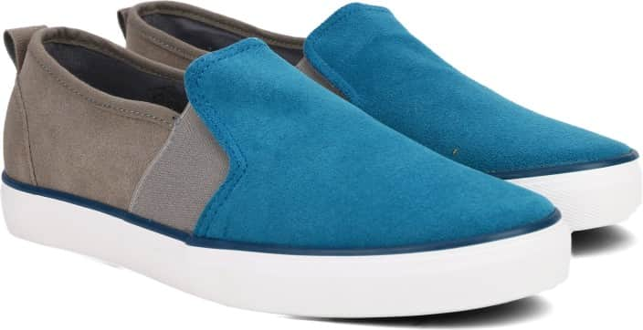 Peter England PE Canvas Shoes For Men  (Blue, Grey)