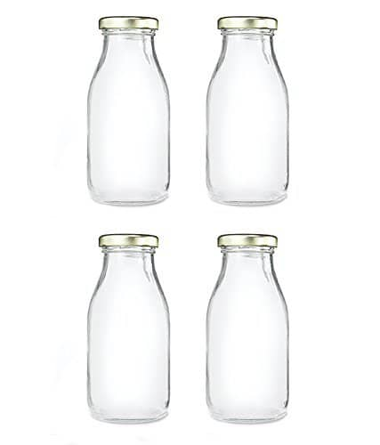[51% off]FAVOLA Glass Bottles with Airtight Metallic Golden Lid (300ml) Set of 4 Rs.280