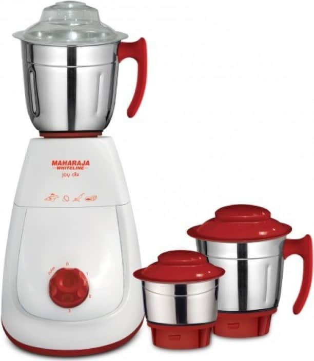 Maharaja Whiteline Mg Joy Deluxe (MX-154) 750 W Mixer Grinder  (White and Red, 3 Jars)
