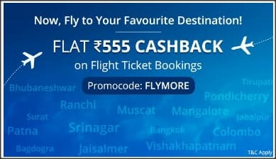 Flat 555 cashback on flight ticket booking at paytm (all users)
