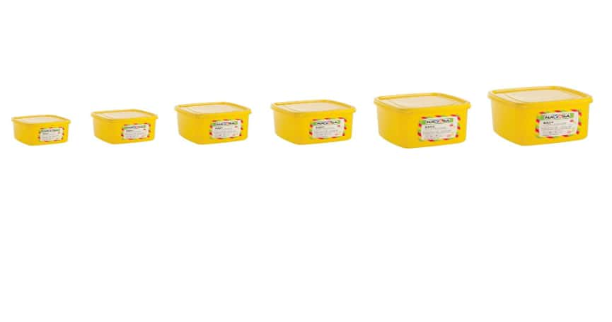 Nayasa Easy Funk Plastic Container Set, 6-Pieces, Yellow