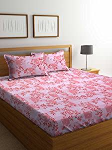 Bombay Dyeing Cynthia 120 TC Polycotton Double Bedsheet with 2 Pillow Covers, Orange