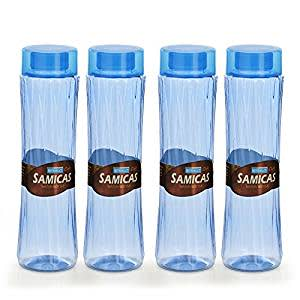 Steelo Plastic Water Bottle, 1.1 Litre, Set of 4, Blue (SAMI10004BLU)