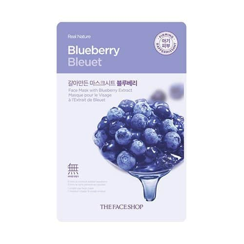 The Faceshop Real Nature Blueberry Face Mask, 20g (Pack of 1 sheet)