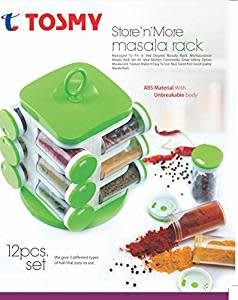 Tosmy 12 Jar Revolving Masala / Spice Rack , Colour may Vary