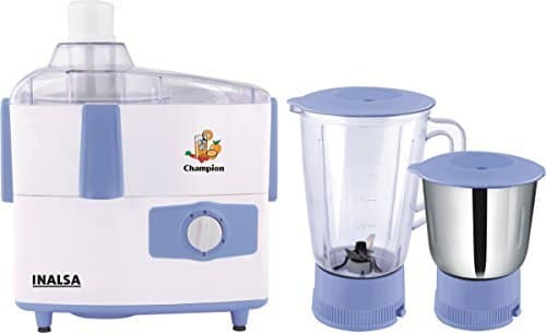 Inalsa Champion 450-Watt Juicer Mixer Grinder (White/Light Blue) @ 2006/- (43% off)