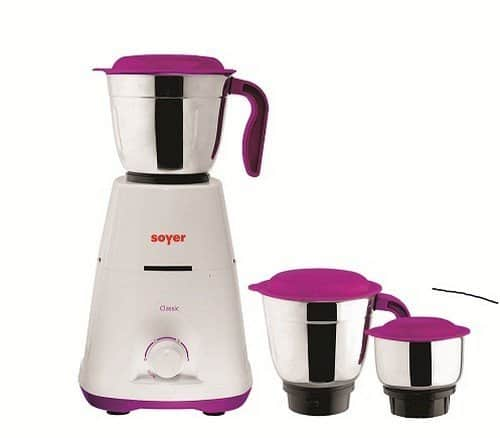 Soyer MG550 550-Watt Mixer Grinder with 3 Jars (Purple/White) @ Rs.1296/- (57% off)