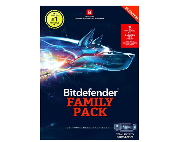 BitDefender Total Security Latest Version Multi Devices - 3 Devices, 3 Years (Activation Key Card)