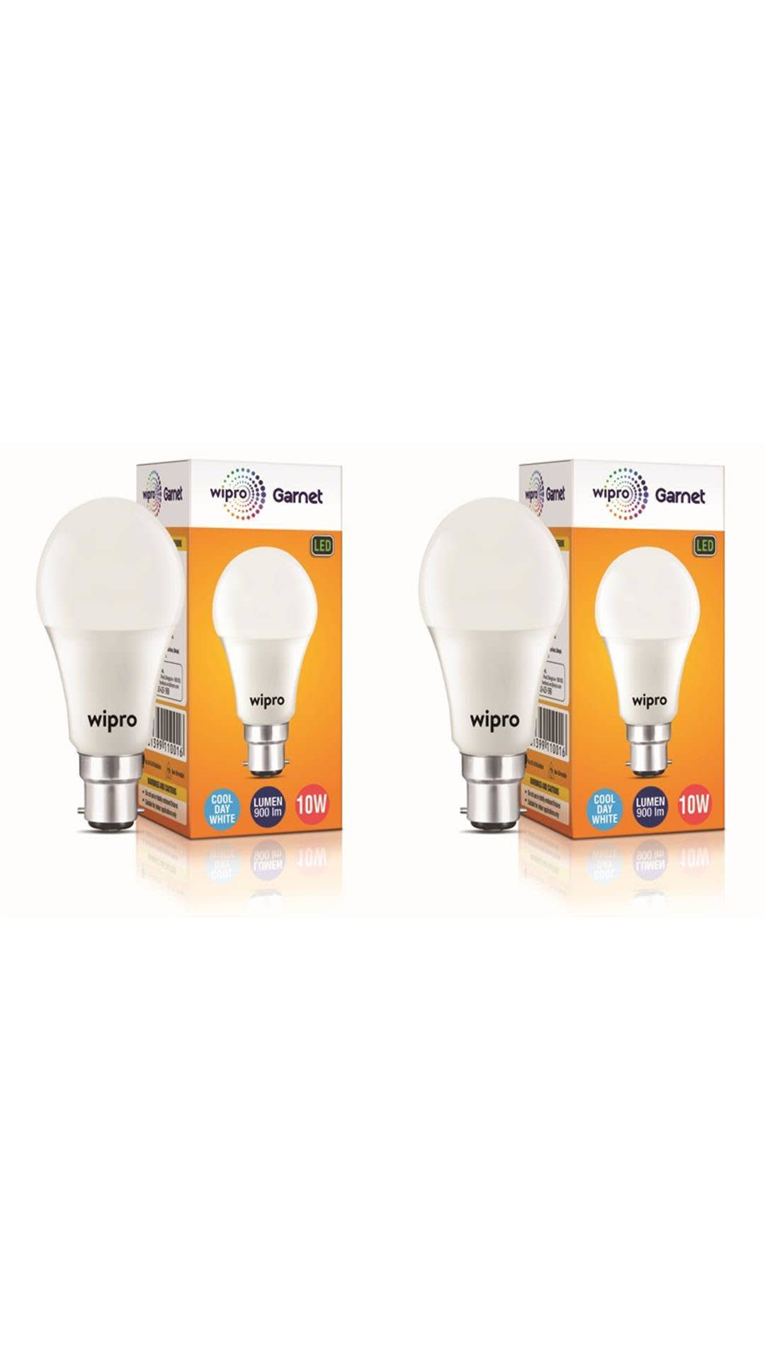Wipro 10Watt LED Bulb Cool Day Light 6500K (Pack of 2)