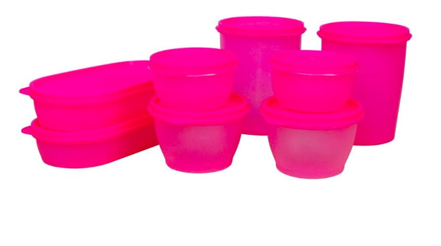 Princeware Modular Plastic Container Set, 8-Pieces, Pink