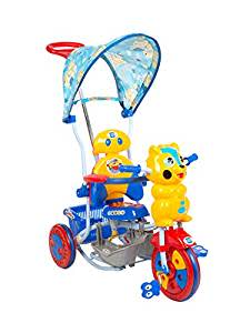 Mee Mee 2 in 1 Baby Tricycle with Rocker Function with Adjustable Seat and Canopy (Blue)
