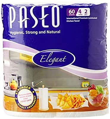 Paseo Tissues Plain Kitchen Towels - 4 Rolls Rs.136 MRP250 @Amazon