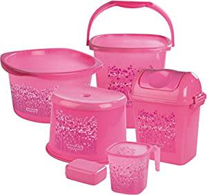 Nayasa Funk Bathroom Set Deluxe, 6 pieces, Pink