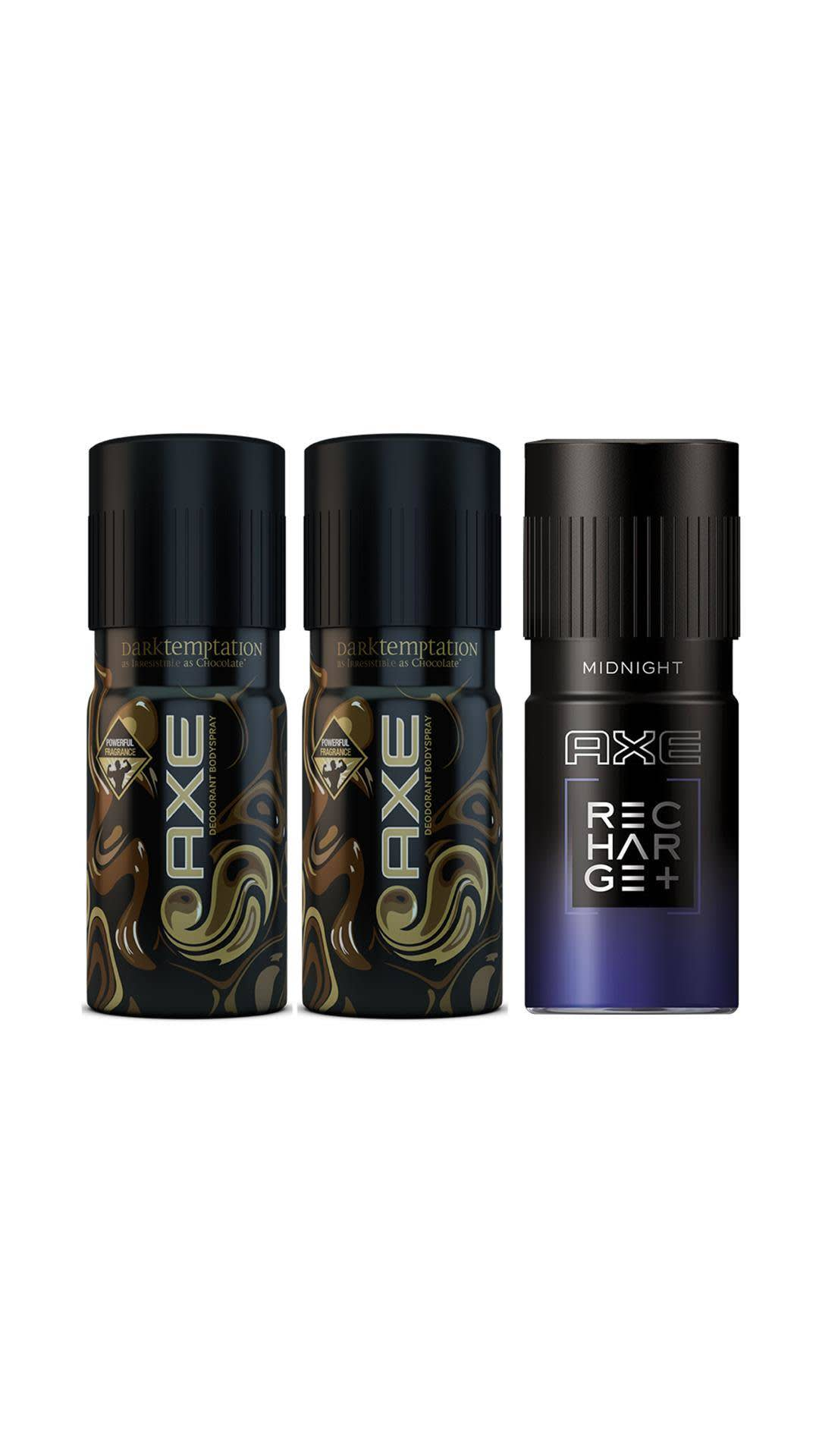 AXE Dark Temptation Deodorant 2 x 150 ml, Midnight Bodyspray 150 ml (Pack of 3)