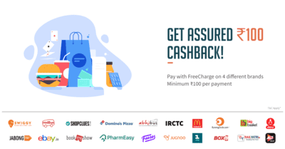 Pay with freecharge at 4 different brands and get assured 100 cashback (min payment 100 each)