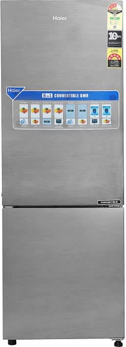 Haier 258 L Frost Free Double Door Bottom Mount 3 Star Refrigerator  (Brushline silver/Dazzel Steel, HEB-25TDS)