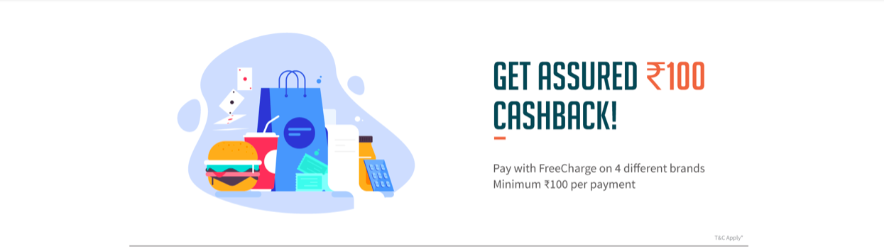 Pay with Freecharge Rs. 100 Cashback on Rs. 100 (Can be Used 4 Times on 4 Diff Site)