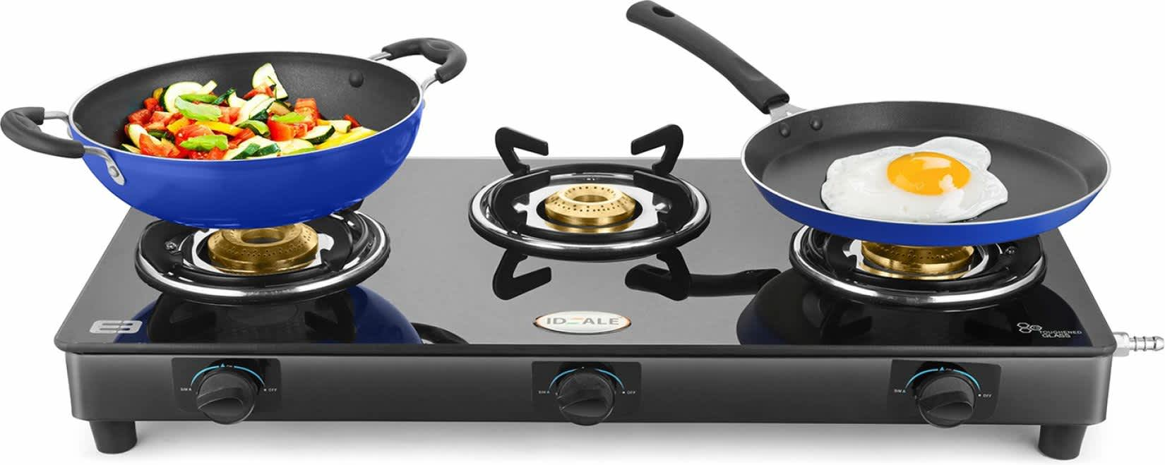 !!!75% off!!!Ideale Triox-KT Steel Manual Gas Stove (3 Burners)