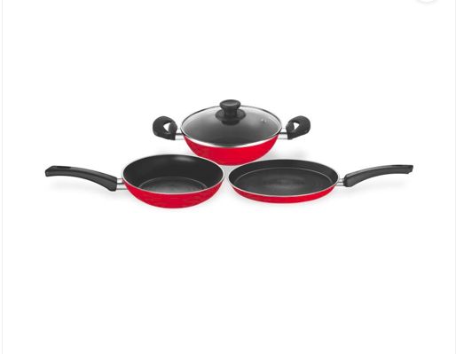 Pigeon carlo 4pc set Induction Bottom Cookware Set  (PTFE (Non-stick), 4 - Piece)