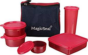 Polyset Magic Seal Luxur Plastic Lunch Box Set with Bag, 6-Pieces, Red