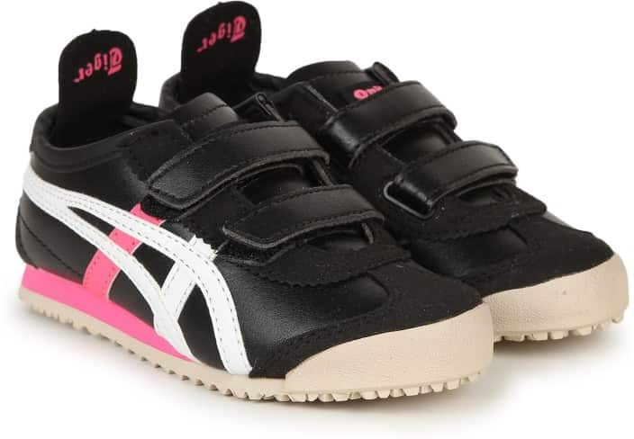 Asics Boys & Girls Velcro Running Shoes  (Black)