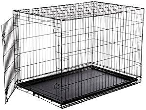 AmazonBasics Single-Door Folding Metal Dog Cage with Paw Protector (Large)