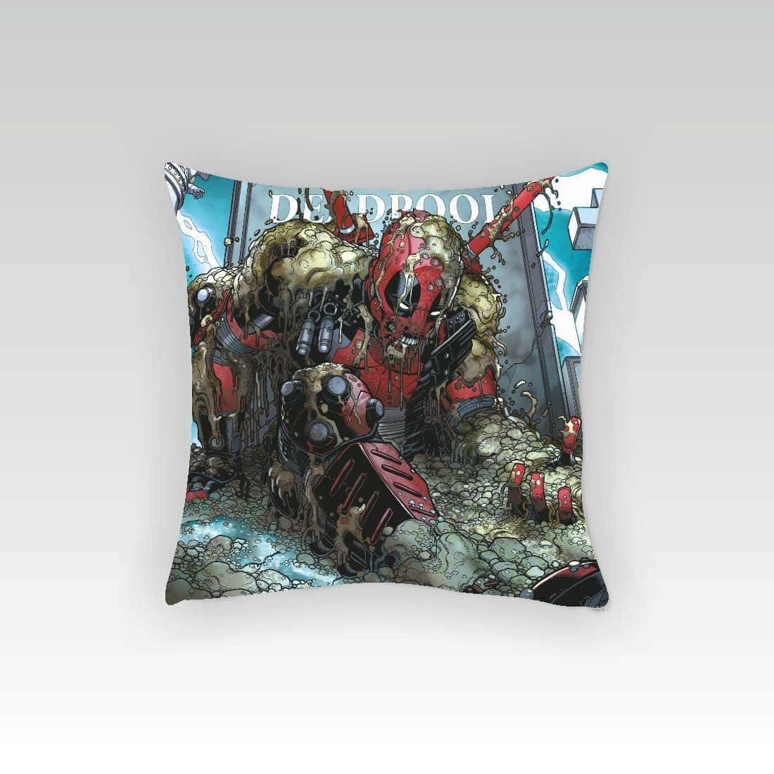 "Marvel Deadpool Fight Square Stretch Polyester Cushion Cover - 16""x16"", Multicolour"