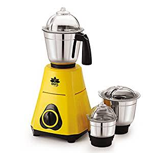 BMS Lifestyle PowerMix PM-01 550-Watt Mixer Grinder with 3 Stainless Steel Jars , Yellow