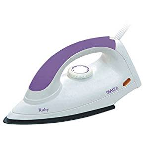 Inalsa Ruby 1000-Watt dry iron with Non-Stick Coated Soleplate(Warranty: 2 Years)
