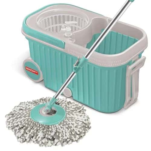 Spotzero by Milton Elite Spin Mop with Bigger Wheels & Auto Fold Handle for 360 Degree Cleaning Rs. 899 - Amazon