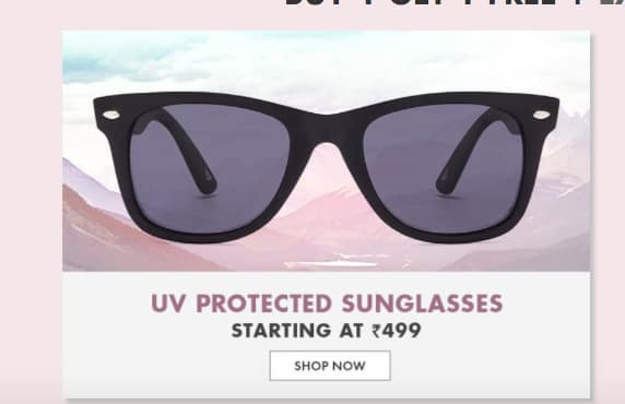 Sunglasses Carnival: Buy 1 Get 1 Free on Sunglasses + Extra 50% Cashback