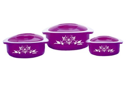 Cello Hot Meal Pack of 3 Casserole Set  (500 ml, 850 ml, 1500 ml)