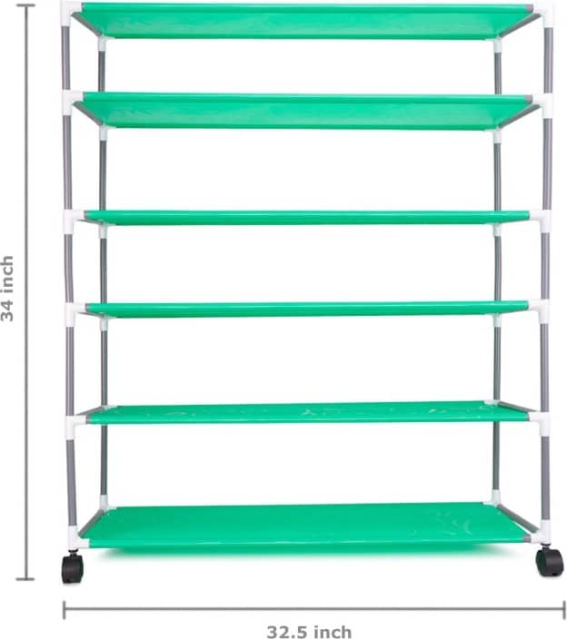 Pearl 6 Layers Shoe Rack Small Structure Metal Collapsible Shoe Stand  (Green)