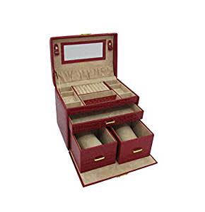 Deluxe 3 Level Jewellery Box with Travel Handle -3 Removable Drawers- Mirror Handmade in Red Leatherette by Tuscan Designs