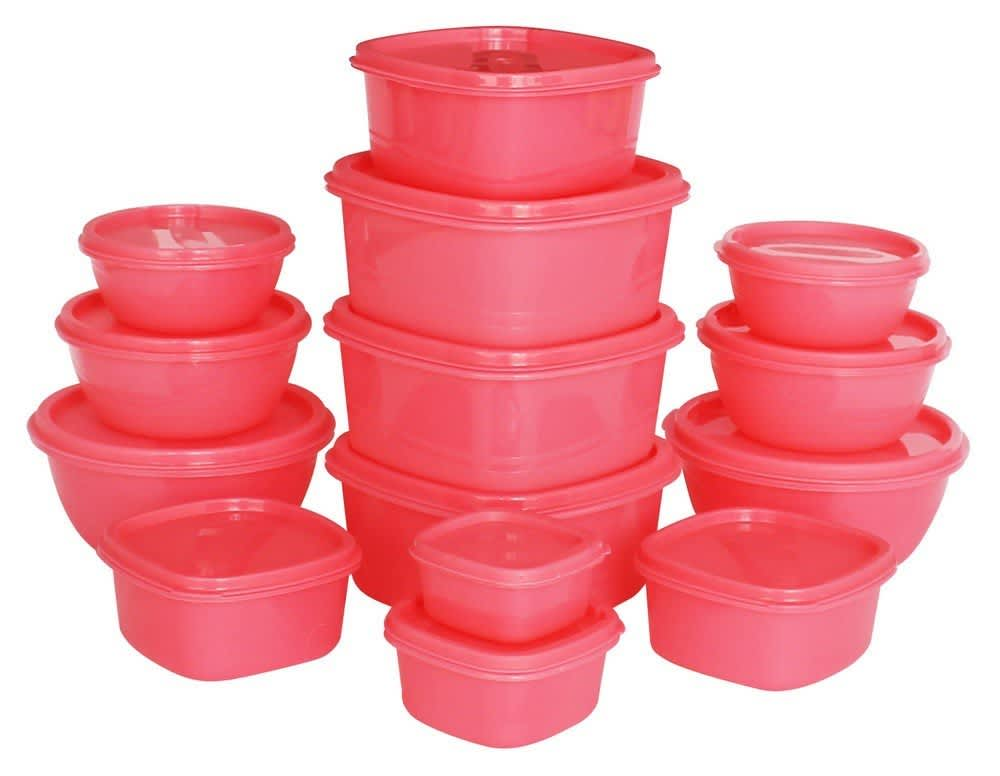 Princeware SF Plastic Storage Container Set, 14-Pieces, Pink