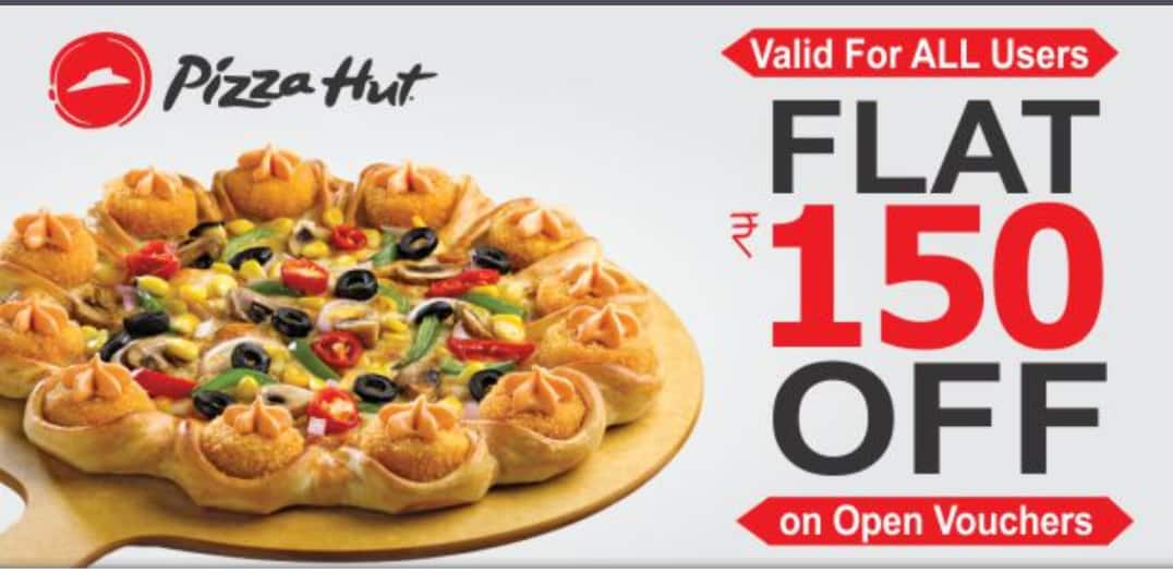 Flat 150 off on pizza hut vouchers (all users)