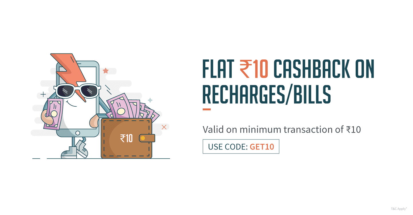 Freecharge : Get 10 cashback on Rs 10 recharge For Rs. 0 @100% Off MRP Rs. 10