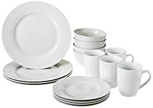 AmazonBasics 16-Piece Dinnerware Set, Round - White