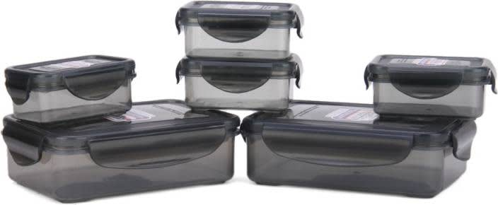 Bel Casa Lock & Store Rectangle - 125 ml, 550 ml Polypropylene Grocery Container  (Pack of 6, Grey)