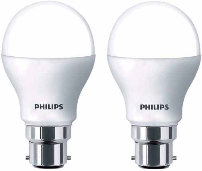 Philips 8.5 W Round B22 LED Bulb  (White, Pack of 2)