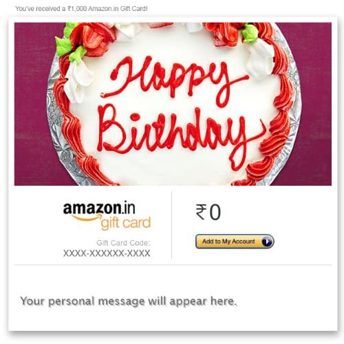Amazon Email Gift card 5% Cashback for All Users Offer on Amazon India