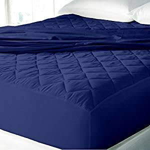 "Cloth Fusion Patron 2nd Gen Waterproof Cotton Mattress Protector- King Size (78""x72""), Navy"