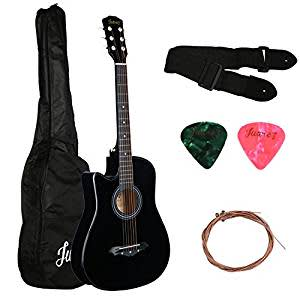 Juarez 5 String Acoustic Guitar Left Handed With Bag, Strings, Pick & Strap (Black)