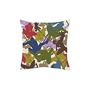 "Marvel Ultimate Spider-Man Silhouttes Officially Licensed Square Stretch Polyester Cushion Cover - 16""x16"", Multicolour"