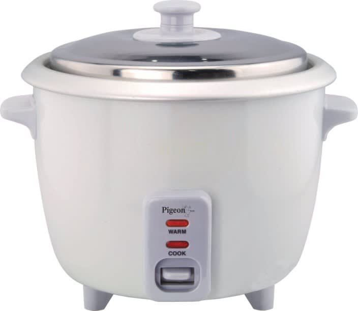 Pigeon Favourite Electric Rice Cooker with Steaming Feature  (1 L, White)