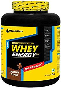 MuscleBlaze 100% Whey Energy Protein Supplement Powder with Vitamins & Minerals, 2 kg 62 Servings (Chocolate)